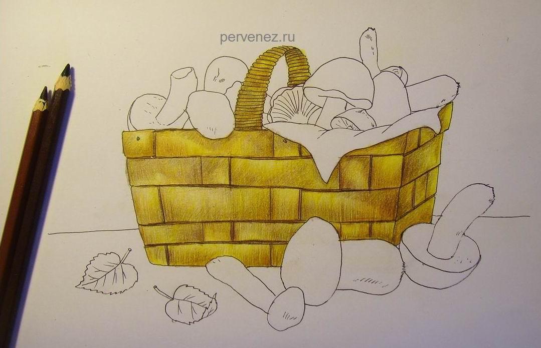 лукошко с грибами рисунок карандашом используют вместо