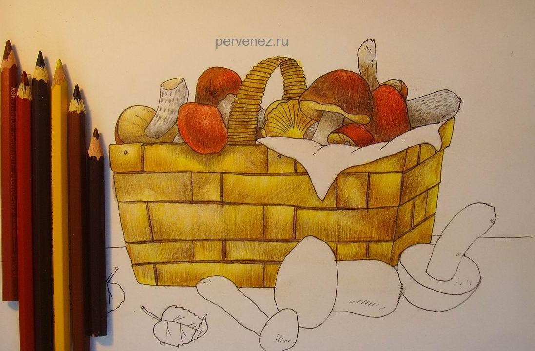 Рисунок корзины с грибами