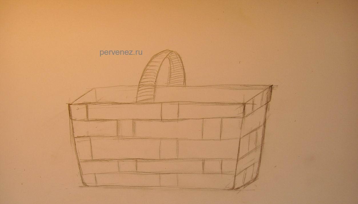 лукошко с грибами рисунок карандашом можно немного подвернуть