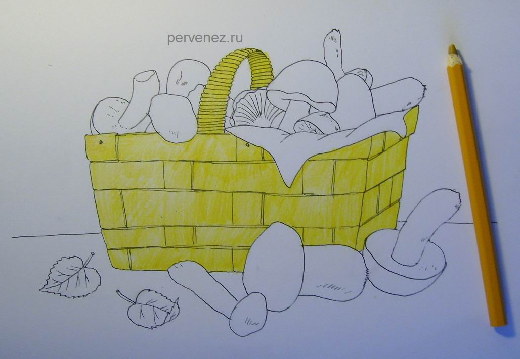 такой лукошко с грибами рисунок карандашом лучшими вариантами